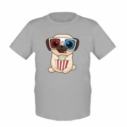 Детская футболка Pug at the cinema