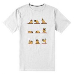 Женская футболка с V-образным вырезом Pug engaged in yoga