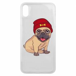 Чехол для iPhone Xs Max Pug in a red hat
