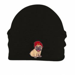 Шапка на флисе Pug in a red hat