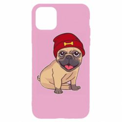 Чехол для iPhone 11 Pro Pug in a red hat