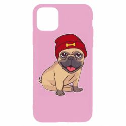 Чехол для iPhone 11 Pro Max Pug in a red hat