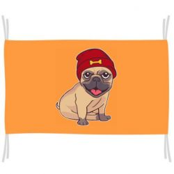 Флаг Pug in a red hat