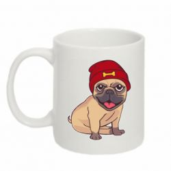 Кружка 320ml Pug in a red hat