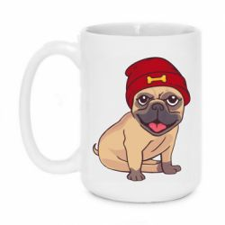 Кружка 420ml Pug in a red hat