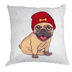 Подушка Pug in a red hat