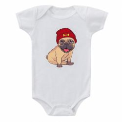 Детский бодик Pug in a red hat
