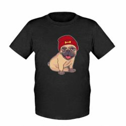 Детская футболка Pug in a red hat