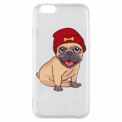 Чехол для iPhone 6/6S Pug in a red hat
