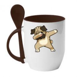 Кружка з керамічною ложкою Pug Swag