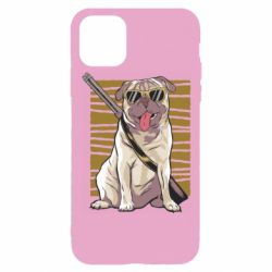 Чехол для iPhone 11 Pro Pug with a gun in glasses