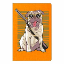 Блокнот А5 Pug with a gun in glasses