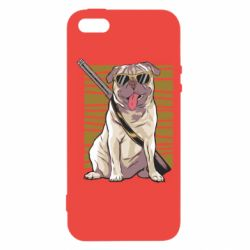 Чехол для iPhone5/5S/SE Pug with a gun in glasses
