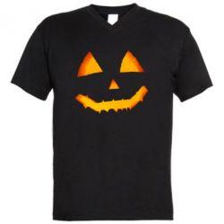Чоловіча футболка з V-подібним вирізом Pumpkin face features