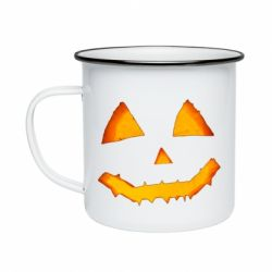 Кружка емальована Pumpkin face features