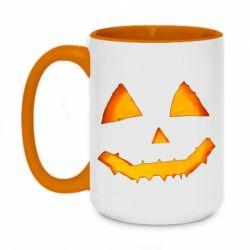 Кружка двоколірна 420ml Pumpkin face features