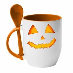 Кружка з керамічною ложкою Pumpkin face features