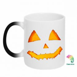 Кружка-хамелеон Pumpkin face features