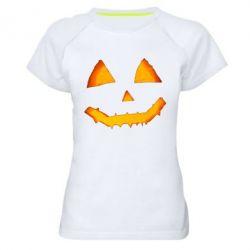 Жіноча спортивна футболка Pumpkin face features