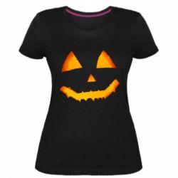Жіноча стрейчева футболка Pumpkin face features