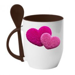 Купить Кружка с керамической ложкой Пушистое сердце, FatLine