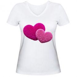Купить Женская футболка с V-образным вырезом Пушистое сердце, FatLine