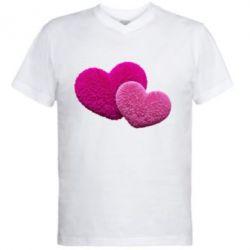 Купить Мужская футболка с V-образным вырезом Пушистое сердце, FatLine