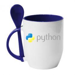 Кружка з керамічною ложкою Python
