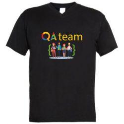Мужская футболка  с V-образным вырезом QA+TEAM