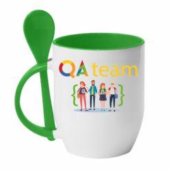Кружка с керамической ложкой QA+TEAM