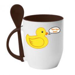 Кружка з керамічною ложкою Quack-quack fuck!