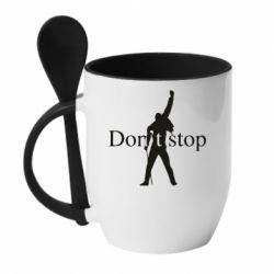 Кружка з керамічною ложкою Queen Don't stop