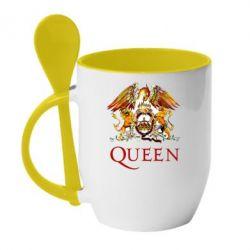 Кружка с керамической ложкой Queen logo 1