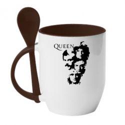 Кружка з керамічною ложкою Queen music