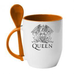 Кружка с керамической ложкой Queen
