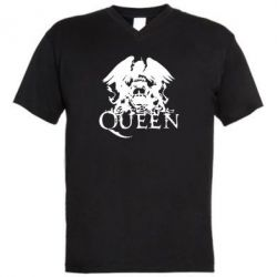 Мужская футболка  с V-образным вырезом Queen - FatLine