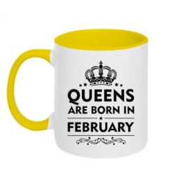Кружка двухцветная Queens are born in February - FatLine