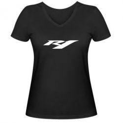 Жіноча футболка з V-подібним вирізом R1 - FatLine