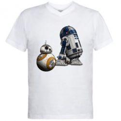 Мужская футболка  с V-образным вырезом R2D2 & BB-8 - FatLine