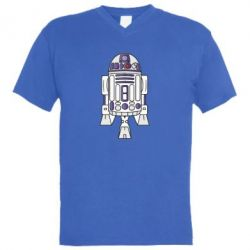 Мужская футболка  с V-образным вырезом R2D2 - FatLine