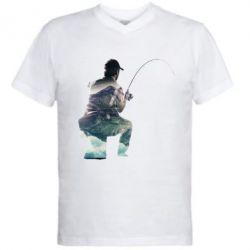 Мужская футболка  с V-образным вырезом Рабак на колене - FatLine