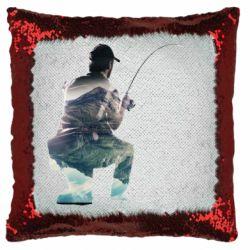 Подушка-хамелеон Рибалка на коліні