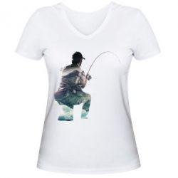 Женская футболка с V-образным вырезом Рабак на колене - FatLine