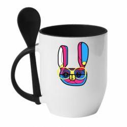 Кружка с керамической ложкой Rabbit Art