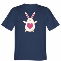Мужская футболка Rabbit with a pink heart