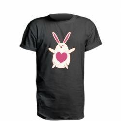 Удлиненная футболка Rabbit with a pink heart