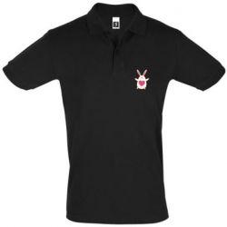 Мужская футболка поло Rabbit with a pink heart