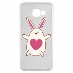 Чехол для Samsung A3 2016 Rabbit with a pink heart