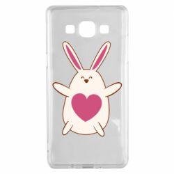Чехол для Samsung A5 2015 Rabbit with a pink heart