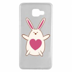 Чехол для Samsung A7 2016 Rabbit with a pink heart